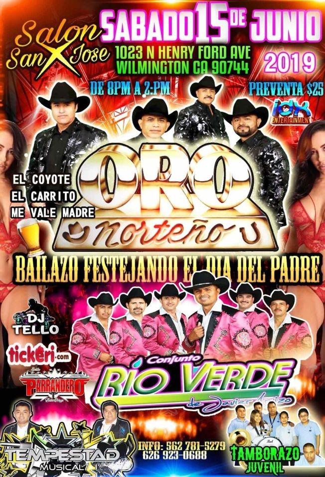 Flyer for Oro Norteño,Conjunto Rio Verde y Mucho Mas en Concierto en Wilmington,CA