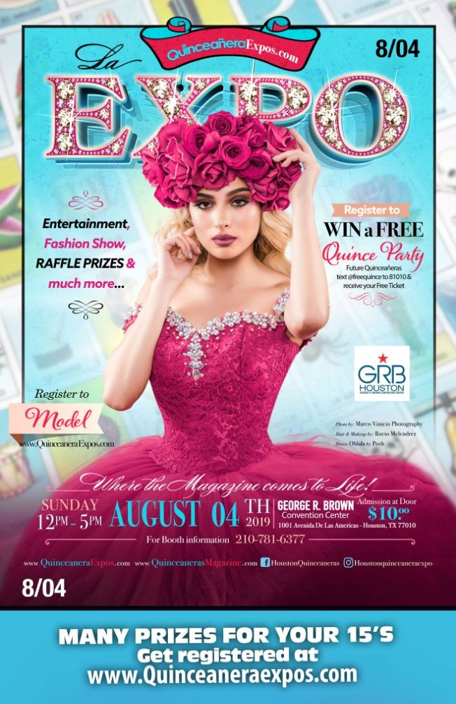 Flyer for Houston Quinceanera Expo 08-04-2019 at George R. Brown Tickets At The Door $ 9.99 Dollars