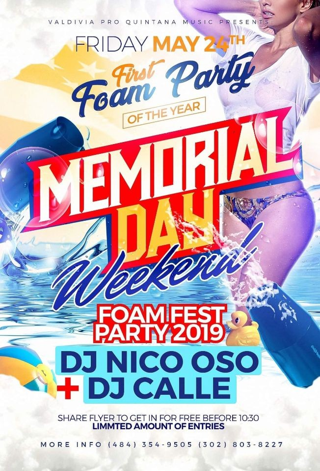 Flyer for The First FOAM PARTY of The Year!