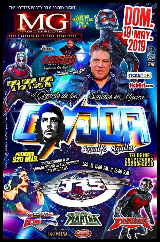 Flyer for Sonido Condor Arnulfo Aguilar,Sonido Jrs y Mucho Mas en Houston,TX