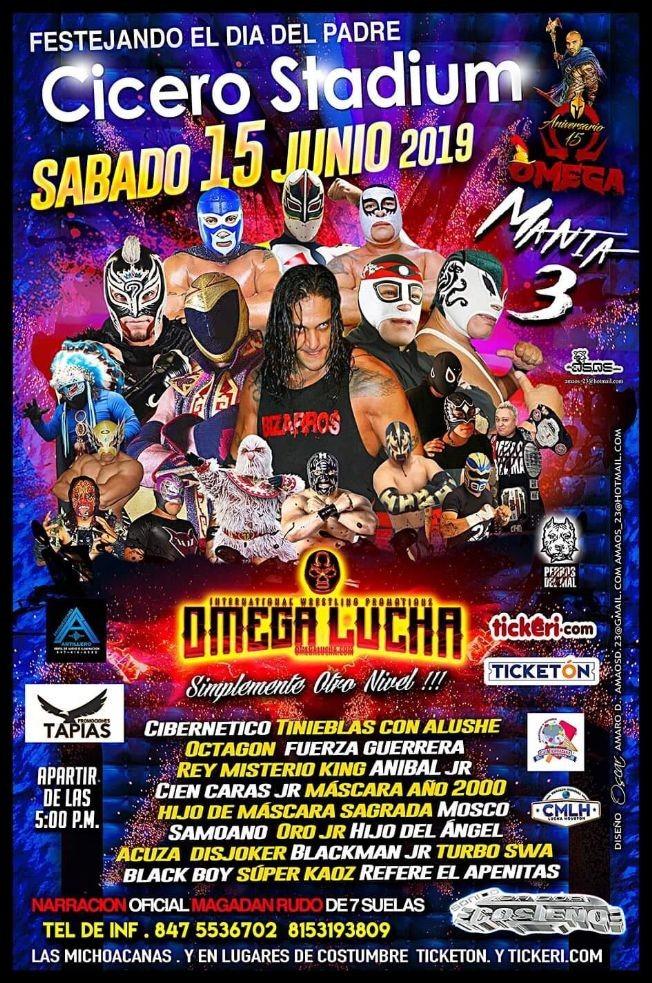 Flyer for Omega Lucha con Cibernetico Tinieblas con Alushe y mucho mas en Cicero,IL
