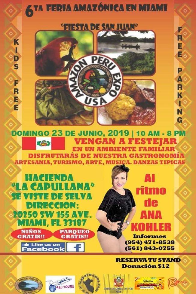Flyer for 6ta Feria Amazonica en Miami al Ritmo de Ana Kohler / 6th Peruvian Amazonian Festival in Miami