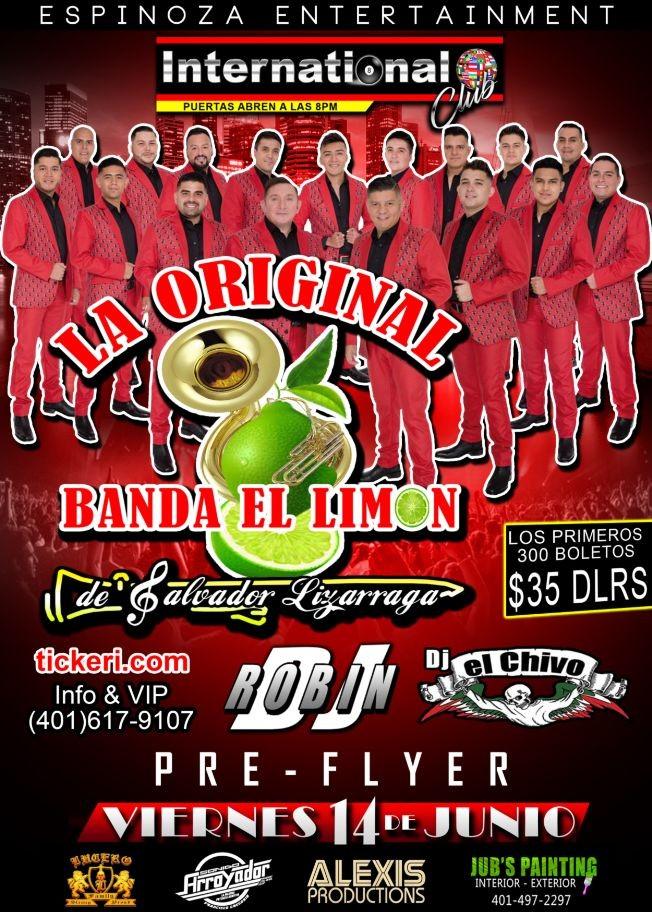 Flyer for La Original Banda el Limon en Pawtucket, RI