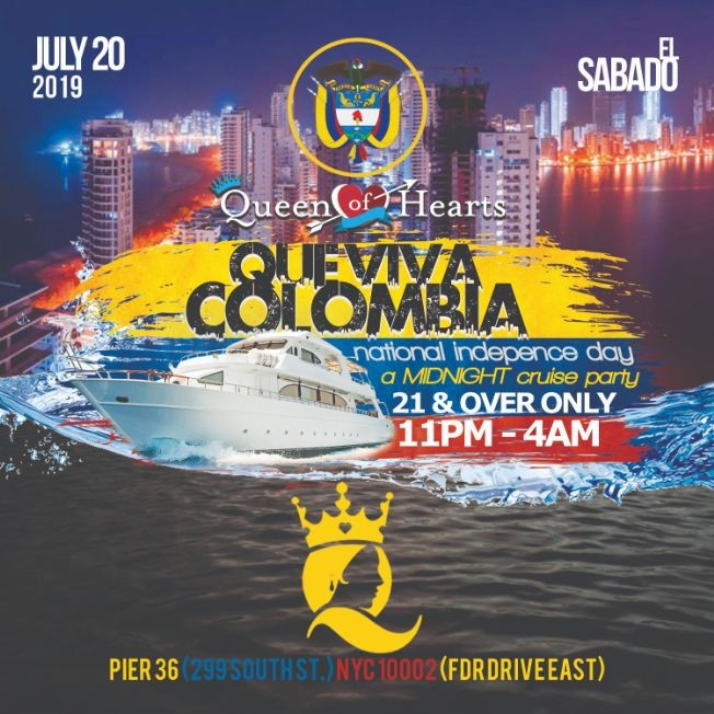 Flyer for Colombian Independence Midnight Boat Cruise At Pier 36