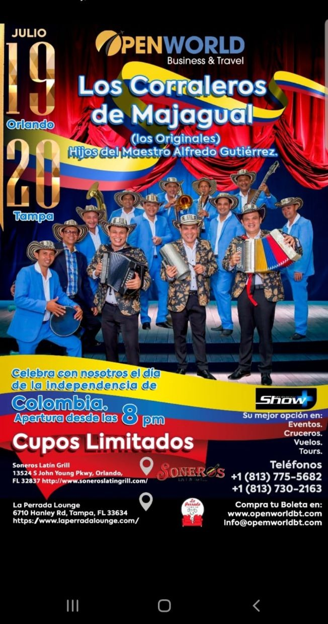 Flyer for Los Corraleros de Majagual en Concierto en Orlando,FL