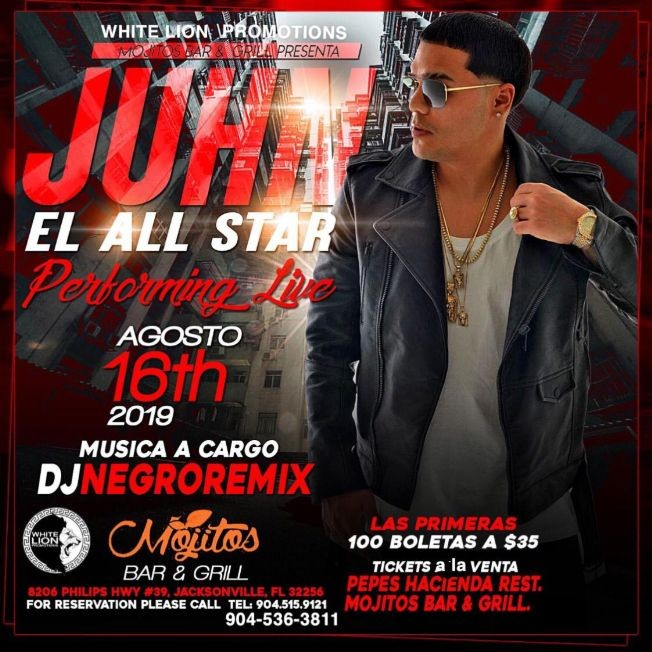 Flyer for Juhn El All Star en Concierto en Jacksonville,FL