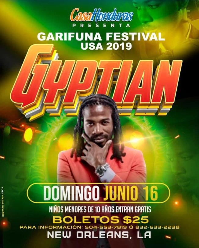 Flyer for Garifuna Festival con Gyptian en New Orleans