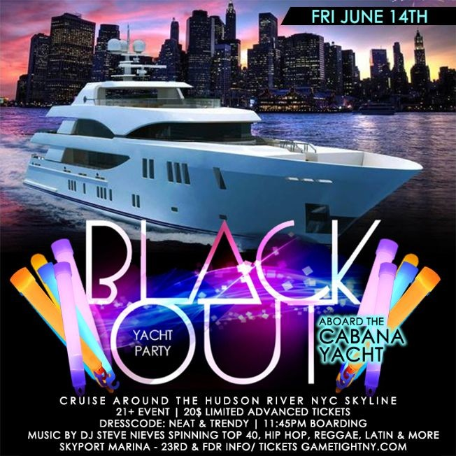 Flyer for NYC Blackout Yacht Party Cruise at Skyport Marina Cabana Yacht 2019