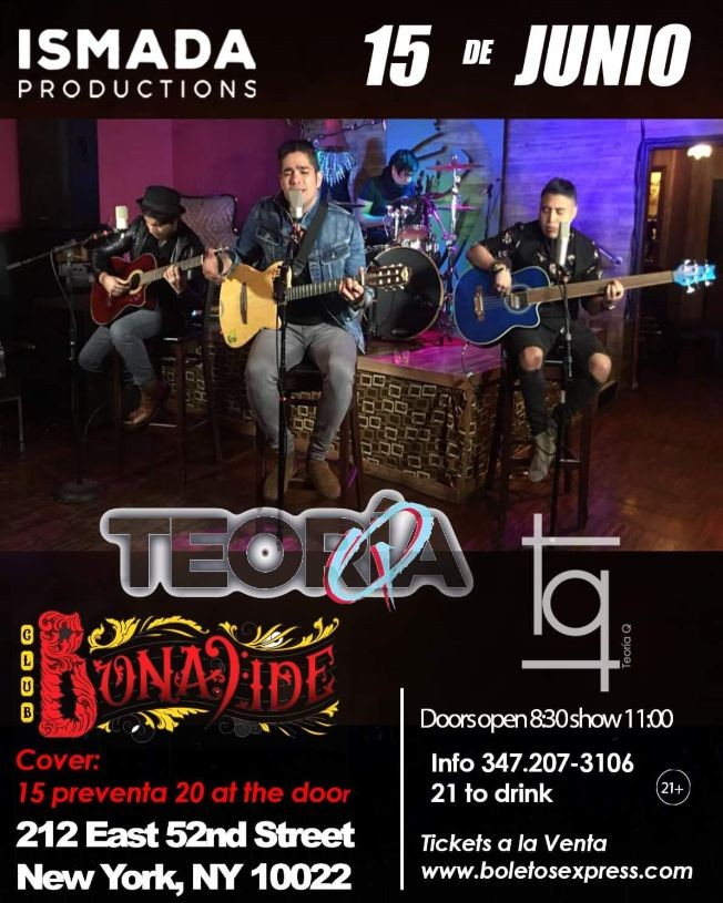 Flyer for Teoria Q en Concierto en New York,NY