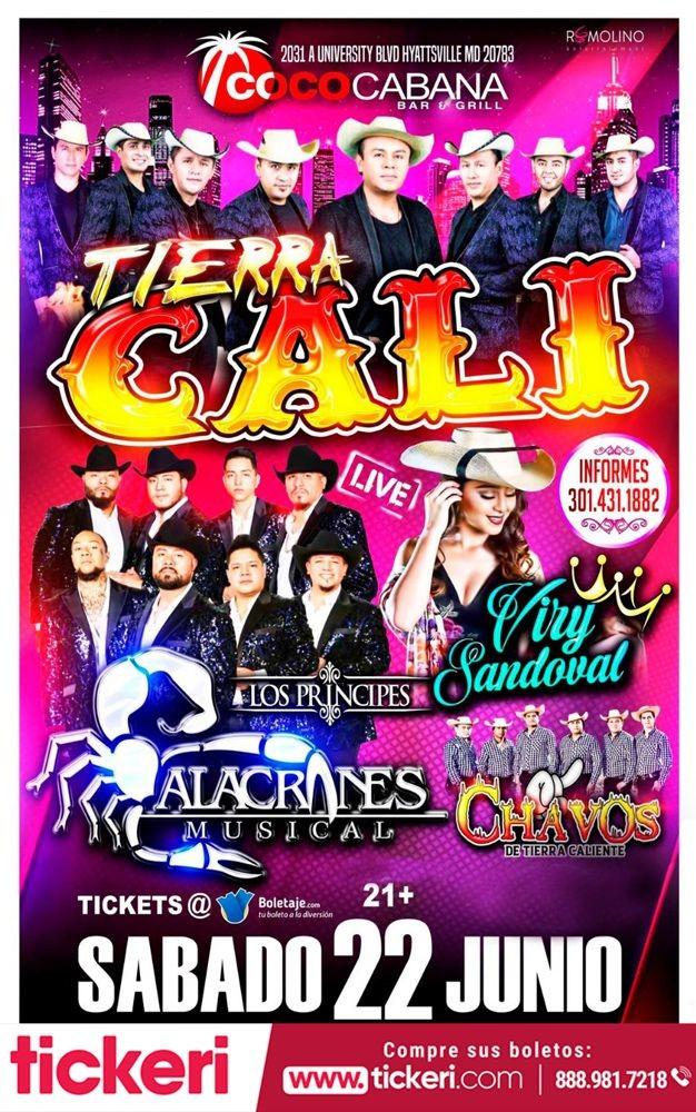 Flyer for Tierra Cali, Alacranes Musical & Viry Sandoval En Concierto.