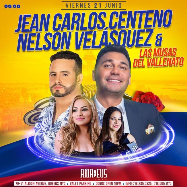 Flyer for Jean Carlos Centeno, Nelson Velasquez, Las Musas del Vallenato