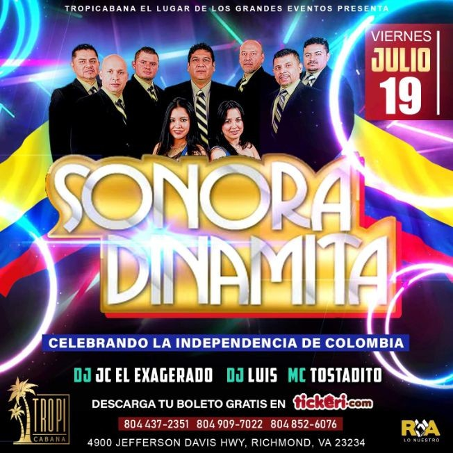 Flyer for Sonora Dinamita en Concierto en Richmond,VA