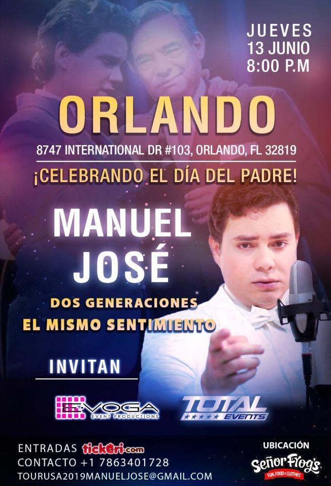 Flyer for Manuel Jose tour usa 2019 ORLANDO