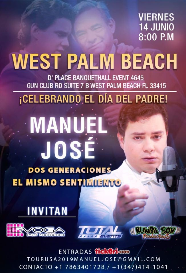 Flyer for MANUEL JOSE TOUR USA  2019 WEST PALM BEACH