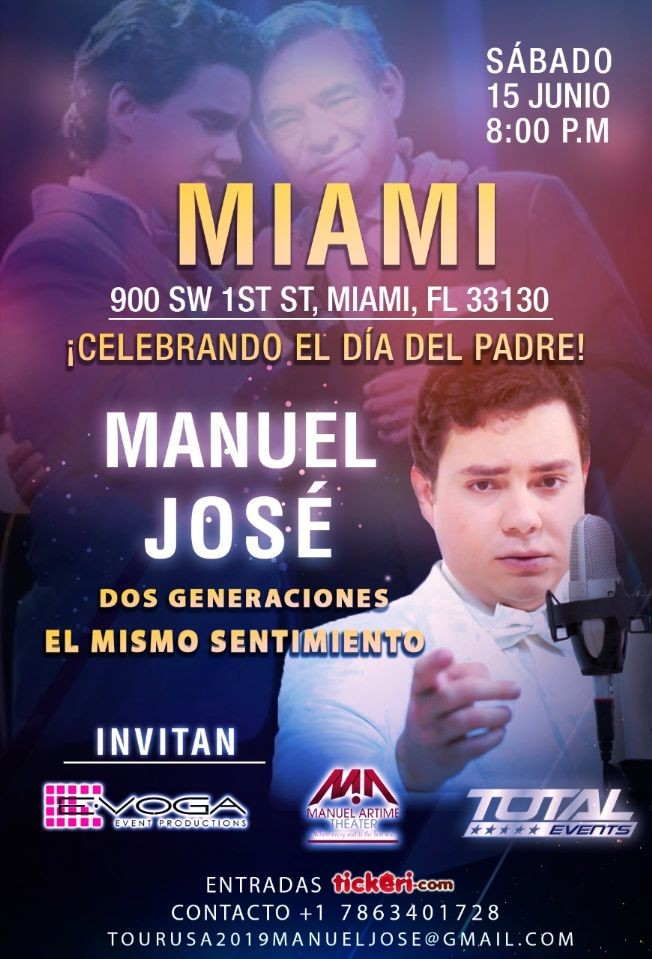 Flyer for Manuel Jose tour usa 2019 MIAMI