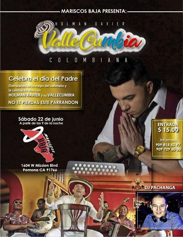 Flyer for Holman Xavier y Su Vallecumbia en Concierto en Pomona,CA