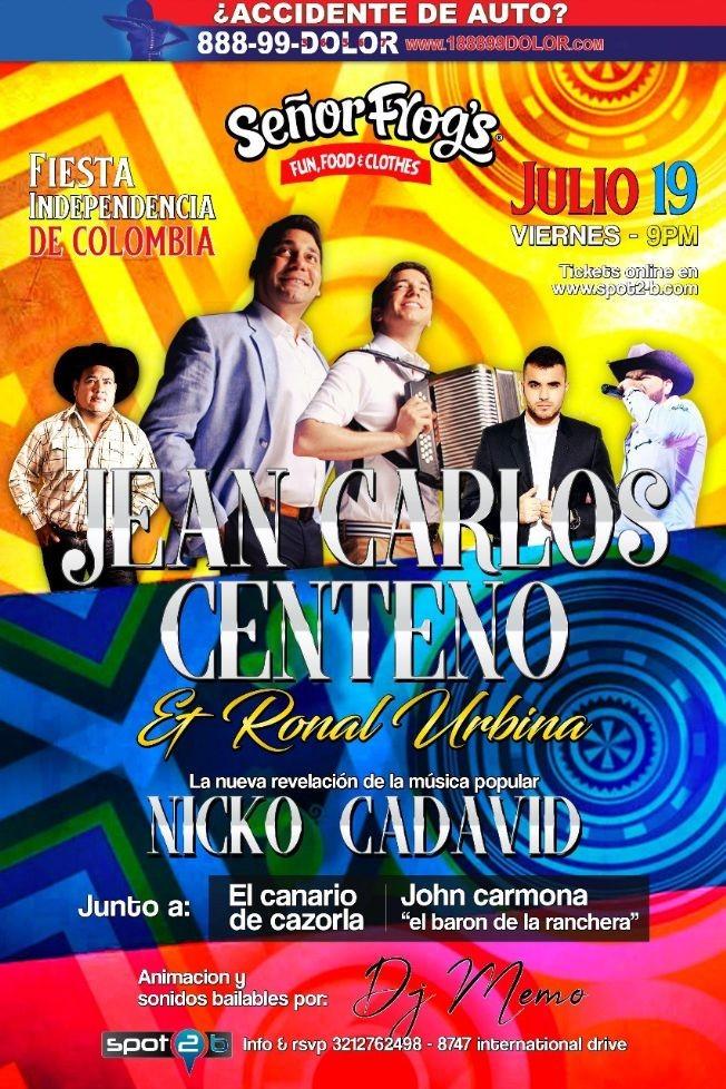 """Flyer for Fiesta Independencia de Colombia """"Jean Carlos Centeno tonight"""" en Senor Frogs Orlando"""