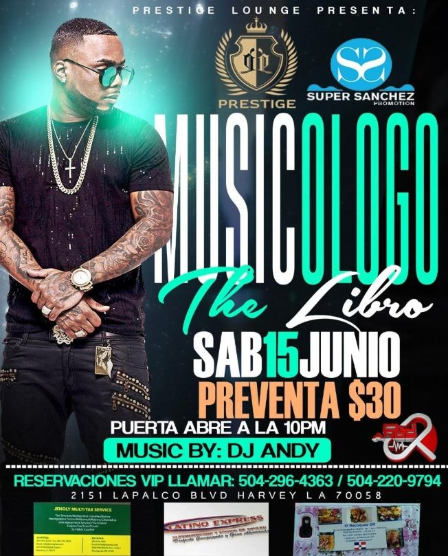 Flyer for Musicologo The Libro en Concierto con Dj Andy en Harvey,LA