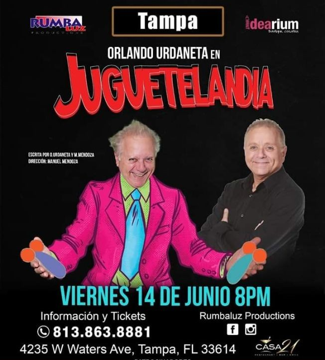 Flyer for Orlando Urdaneta Juguetelandia  en Tampa,FL