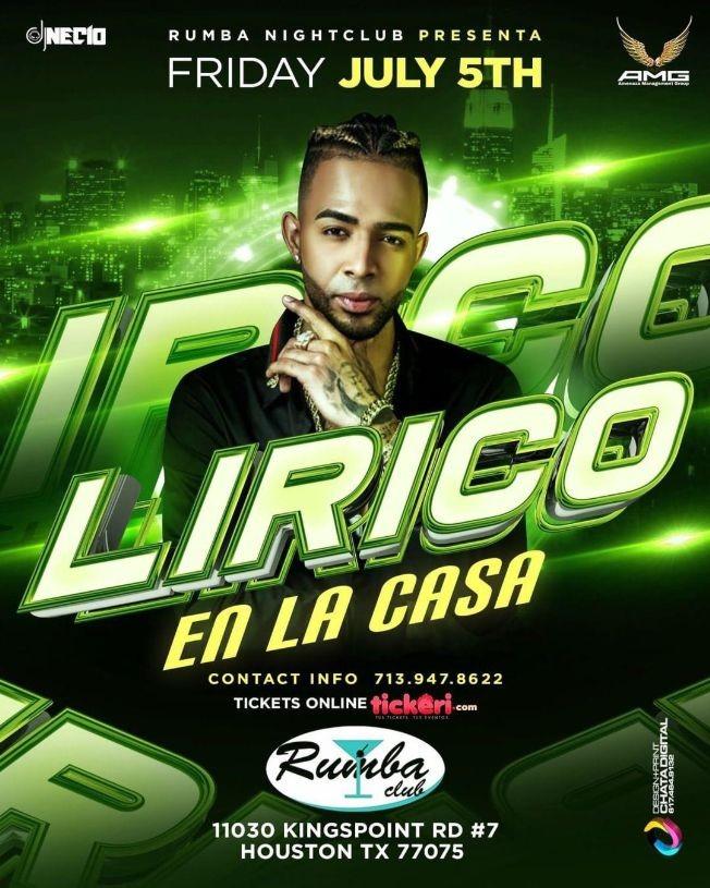 Flyer for Lirico en la casa por primera vez en Houston