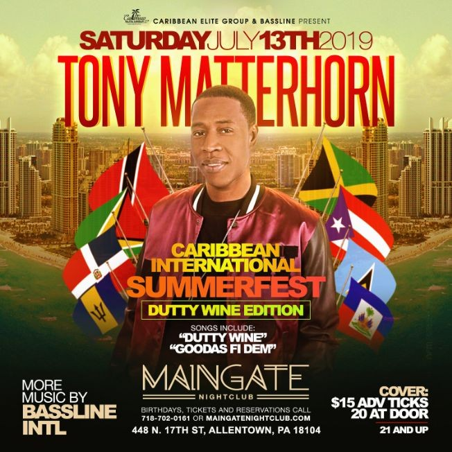 "Flyer for Tony Matterhorn Live For SummerFest ""Dutty Wine Edition"""