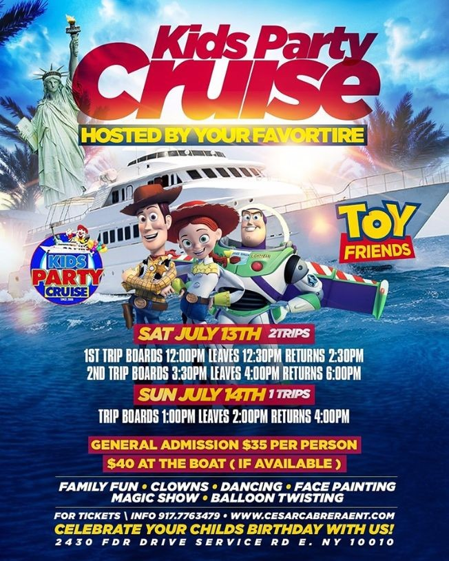 Flyer for Kids Party Cruise Hosted By Toy Friends (12:00pm-2:30pm)