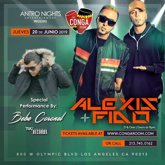 Flyer for ALEXIS Y FIDO en CONGA ROOM Los Angeles!