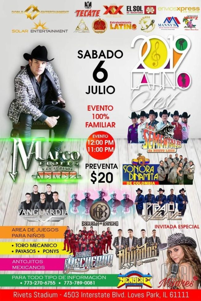 Flyer for Festival Latino 2019 con Marco Flores,Los Sementales y Mucho Más en Loves Park,IL