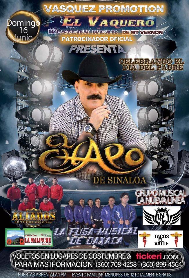 Flyer for Festival Dia del Padre con El Chapo de Sinaloa e Invitados en Mount Vernon,WA