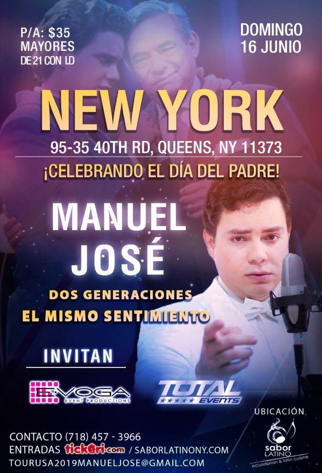 Flyer for Celebrando el dia del Padre con Manuel Jose en NY