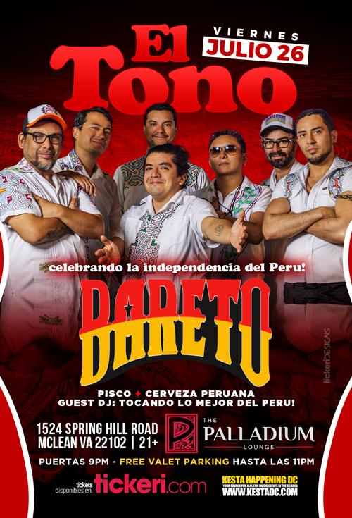 Flyer for Celebrando la Independecia de Peru con Bareto en Vivo