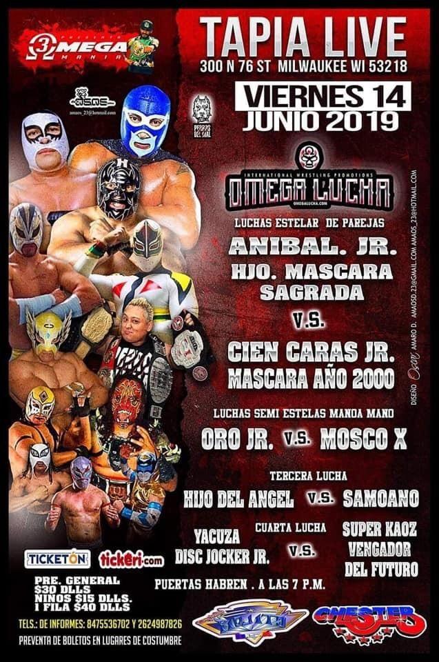 Flyer for Omega Lucha con Anibal Jr. Hjo. Mascara Sagrada vs. Cien caras JR. Mascara Año 2000 en Milwaukee,WI