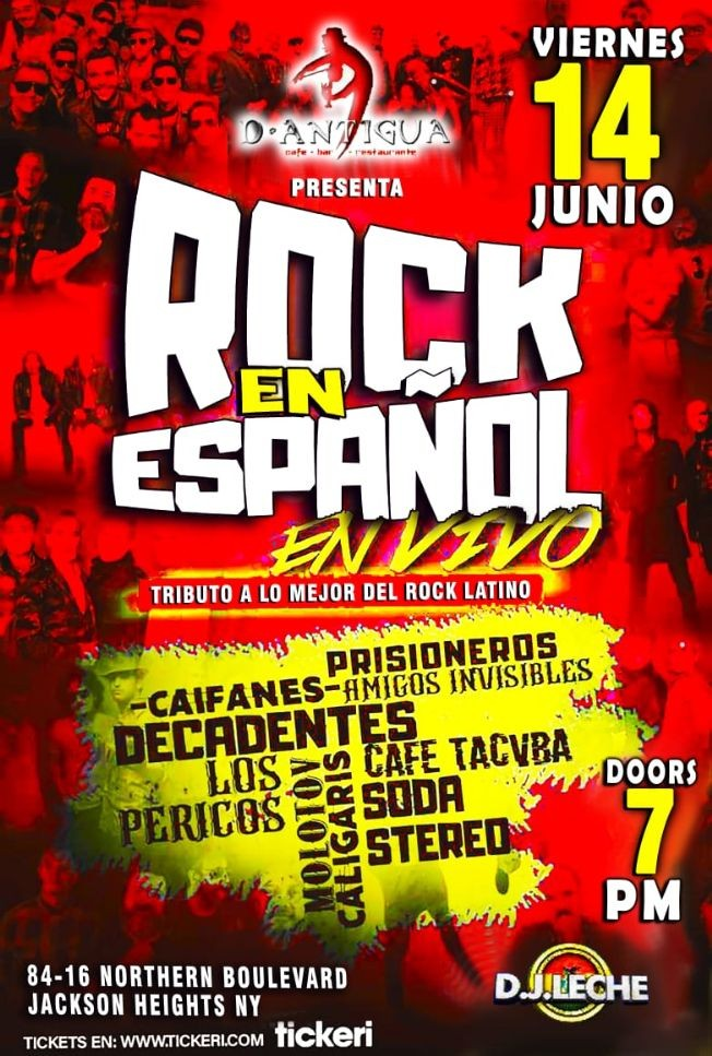Flyer for Tributo Rock en Español