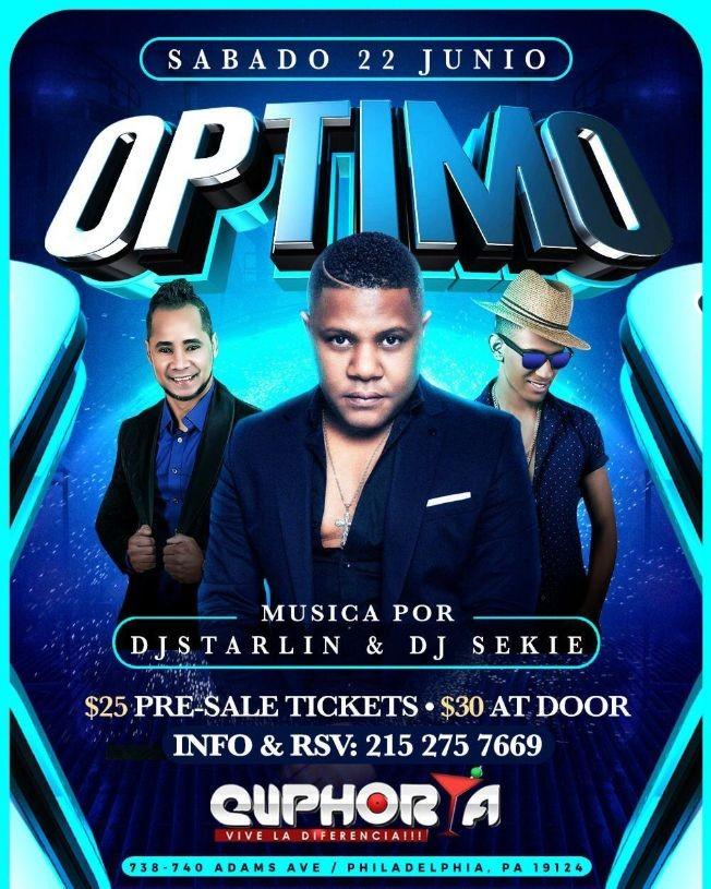 Flyer for Grupo Optimo en Concierto con Dj Starlin & Dj Sekie En Philadelphia,PA