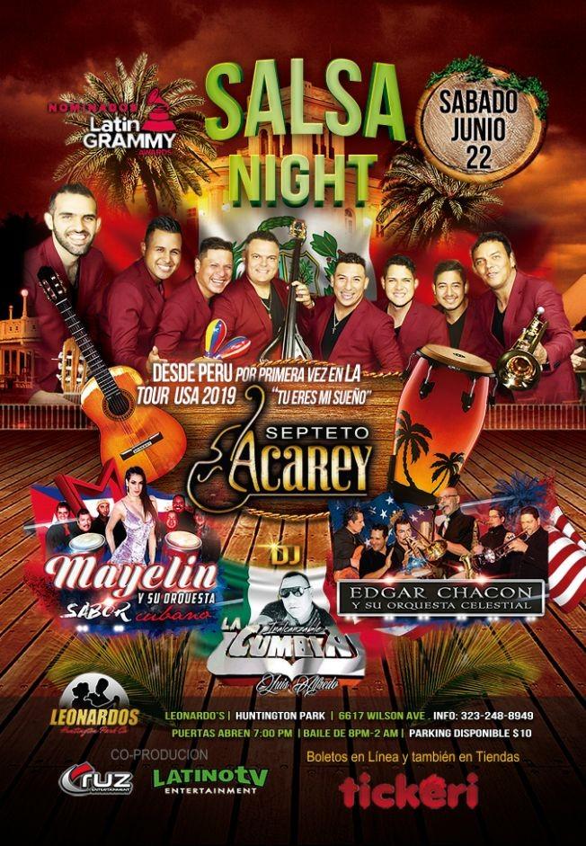 Flyer for Salsa Night con Septeto Acarey, Mayelin y Su Orquesta & Edgar Chacon en Huntington Park,CA