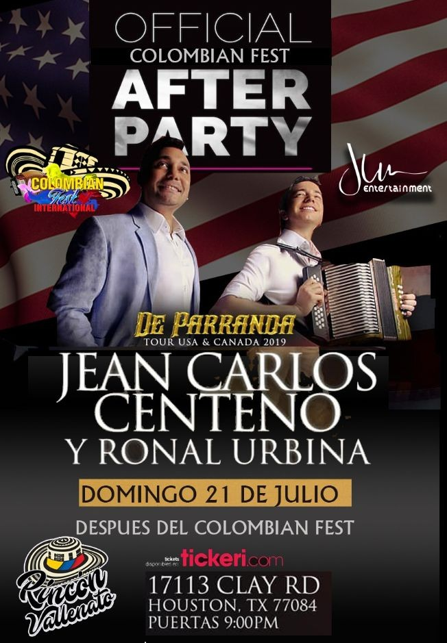 Flyer for Jean Carlos Centeno - Official Colombian Fest After Party en Houston,TX