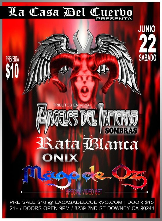 Flyer for RATA BLANCA / ANGELES DEL INFIERNO TRIBUTO EN VIVO! Y ESPECIAL DE MAGO DE OZ EN VIDEO