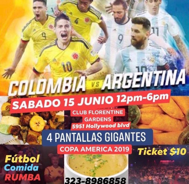 Flyer for Copa America 2019 Colombia vs Argentina en Pantalla Gigante en Los Angeles,CA