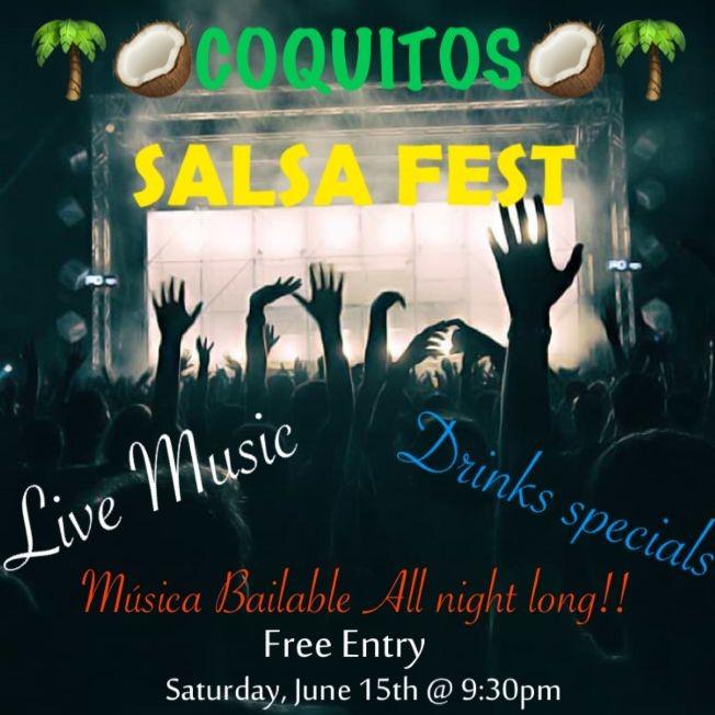 Flyer for COQUITOS BAR SALSA FEST