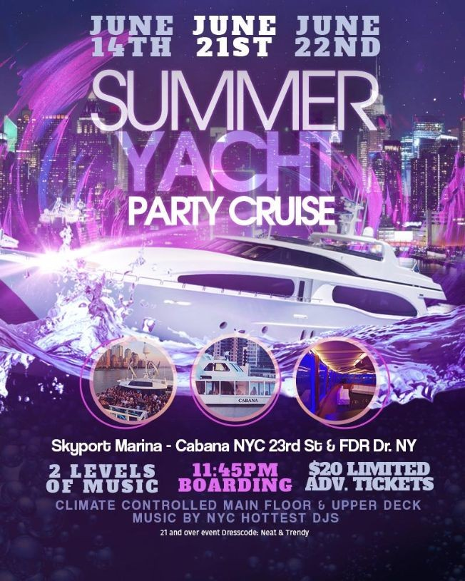 Flyer for Summer Midnight Yacht Cruise At Cabana