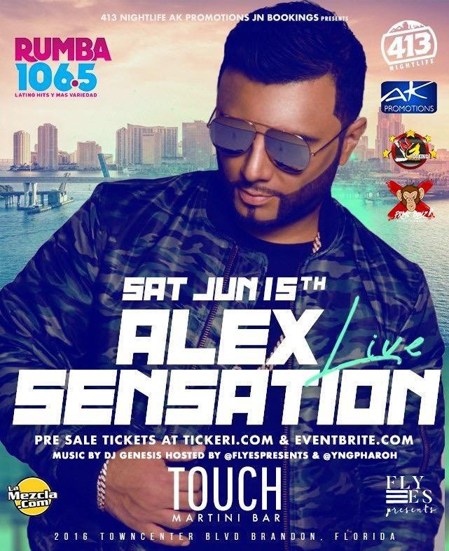 Flyer for Alex Sensation Live In Tampa