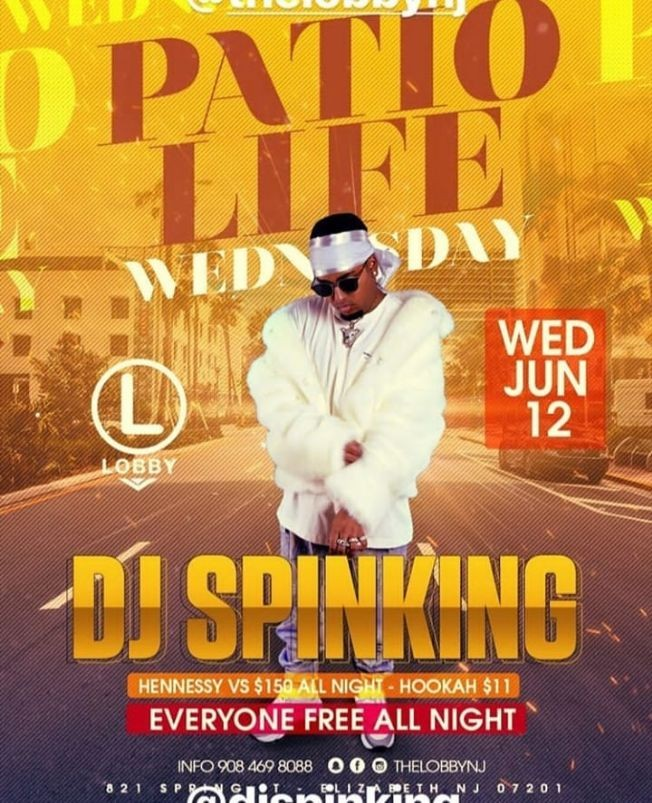 Flyer for Patio Life Wednesdays Season 2 DJ Spinking Live At The Lobby