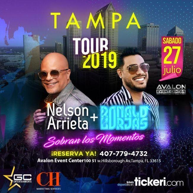 Flyer for Nelson Arrieta y Ronald Borjas en Tampa,FL