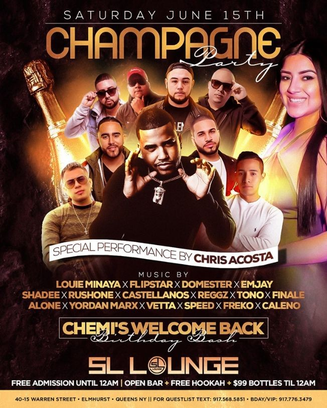 Flyer for Champagne Party At SL Lounge