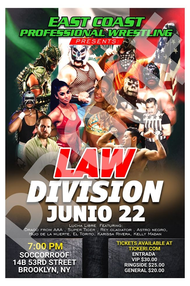 Flyer for Lucha libre / wrestling in Brooklyn