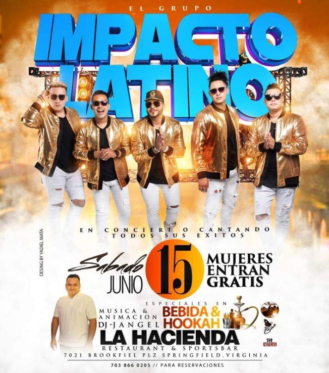 Flyer for Orquesta Impacto Latino en Springfield,VA
