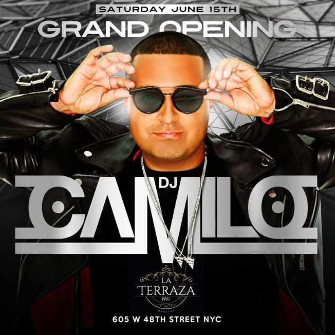 Flyer for Grand Opening Of DJ Camilo Live At La Terraza NYC