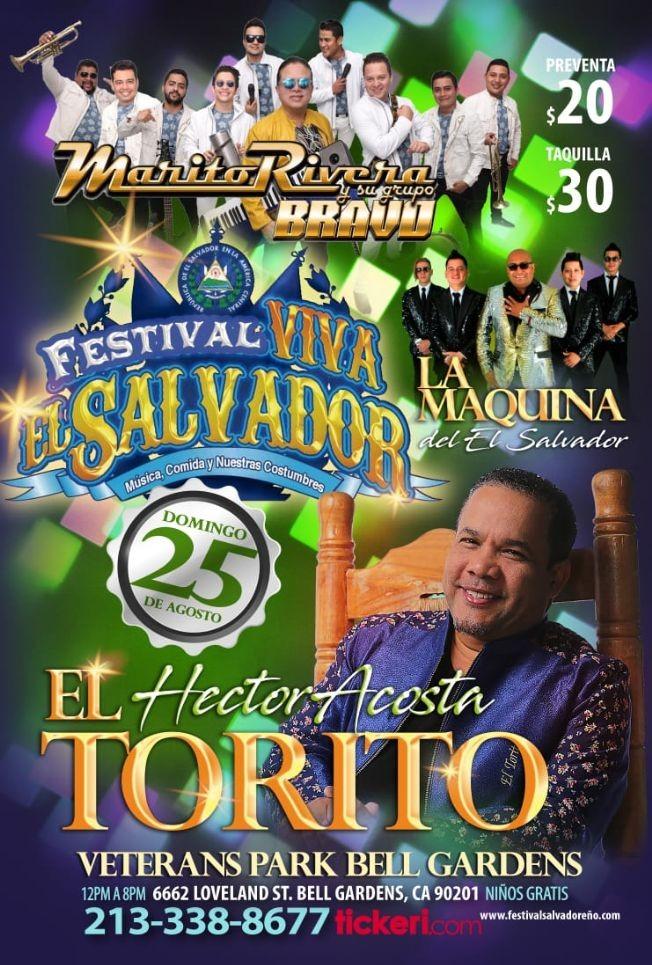 """Flyer for Festival Viva El Salvador, con Hector Acosta """"El Torito"""",Marito Rivera y su Grupo Bravo y Mucho Mas En Concierto en Bell Gardens,CA"""