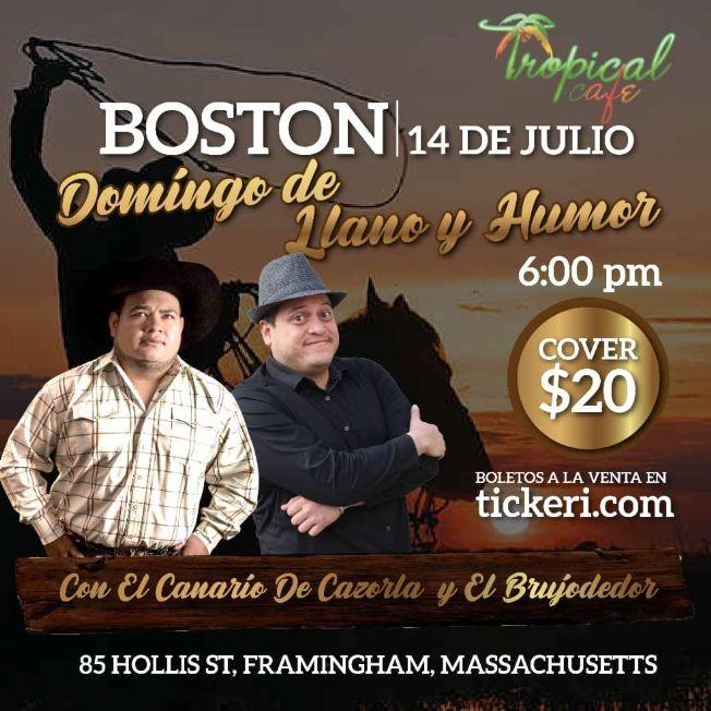 Flyer for Domingo de Llano y Humor con El Canario de Cazorla y El Brujodedor en Framingham,MA