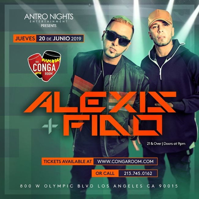 Flyer for ALEXIS Y FIDO en Orange County! MOVED TO CONGA ROOM Thursday June 20th.